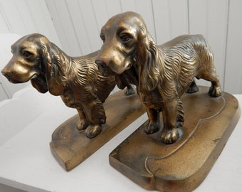 Spaniel Retriever Brass Dog Bookends - Made by Frankart - Mid Century Brass Home Library Decor -- Great Dog Lover Gift Idea!