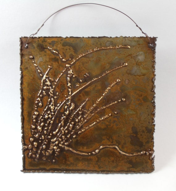 Metal Wall Decor Clearance : Pond reeds wall hung metal art tile sculpture