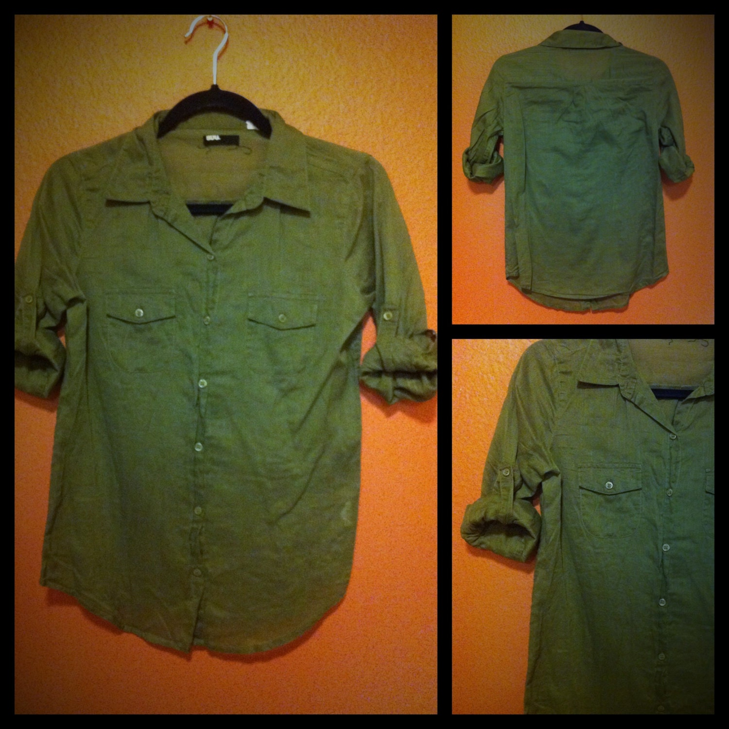 hunter green button down women 39 s shirt size by jukeboxglitter