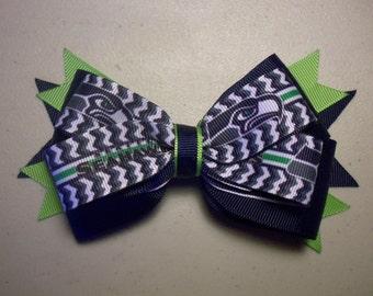 Seattle Seahawks NFL Design Bow