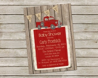 Vintage Truck Baby Shower Invitation, Rustic Wood baby shower, Retro Baby Boy Shower Invitation , Vintage Red Truck