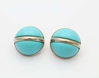 Vintage MCM Silver Tone and Bright Blue Domed Button Earrings Sarah Coventry. [1879]