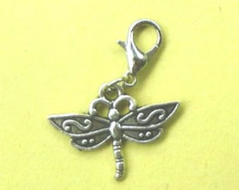 Dangle Silver Dragonfly #2 for Bracelets, Floating Charm Pendants, Necklaces & Keychains  D014