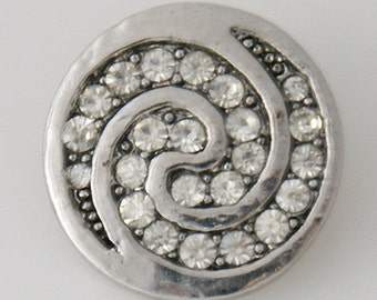 KB7597 Antiqued Silver Disk w Clear Crystal Swirl