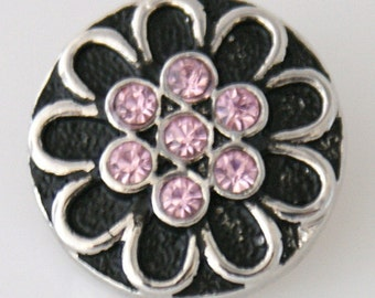 KB7506  Beautiful 7 Pink Crystal Flower on Black Enamel with Silver Petals All Around