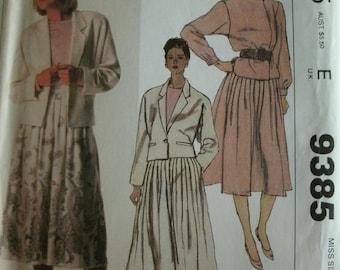 Misses Jacket, Blouse and Skirt Size 12 McCalls the Villager Pattern 9385 Vintage 1985 Pattern UNCUT