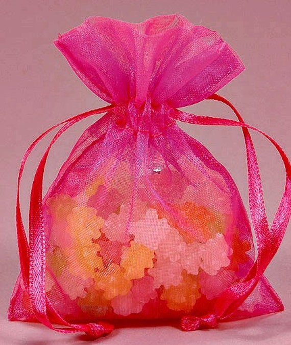100 Organza bags in Pink, 3.5 x 4.5 inch, wedding bags, shower bags, favor bags, gift bags