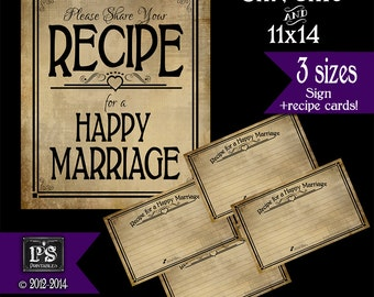 Recipe for a Happy Marriage Sign and Recipe Cards - PRINTABLE Instant download - Sign comes in 3 sizes - Vintage Black Open Heart Collection