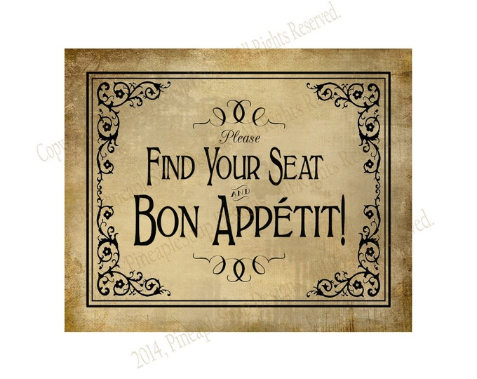 Find your seat, bon appetit vintage wedding signage - event sign - DIY instant download - Vintage Black Tie Collection