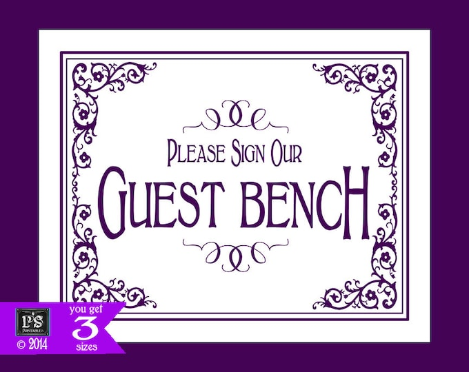 Printable Please sign our Guest Bench Wedding Sign - 3 sizes - instant download digital file - DIY - Black Tie Purple Plum Collection