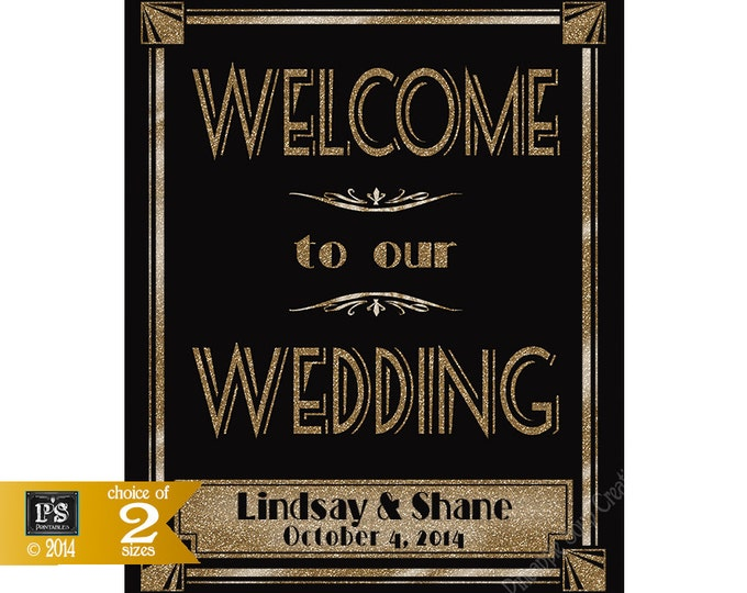 Personalized Welcome to our Wedding Printable File with Bride & Groom Names, wedding date - Art Deco/Great Gatsby/Roaring 20's - Rush Option