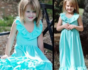Girls Aqua Maxi - Long Girls Dress - Toddlers Long Dress // Halter Top Maxi // Ruffle Dress