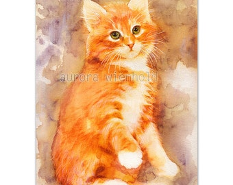 Can I trust you? - LIMITED PRINT - only 25 pieces worldwide! HANDSIGNED art print from watercolor (cat kitty kitten Katze gato chat feline)