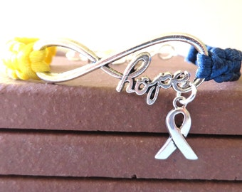 Down Syndrome HOPE Awareness Charm Bracelet With Optional Hand Stamped Alphabet Letter Charm