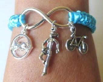 Triathlon Athletic Charm Infinity Bracelet Runner Swimmer Biker You Choose Your Cord Color(s)