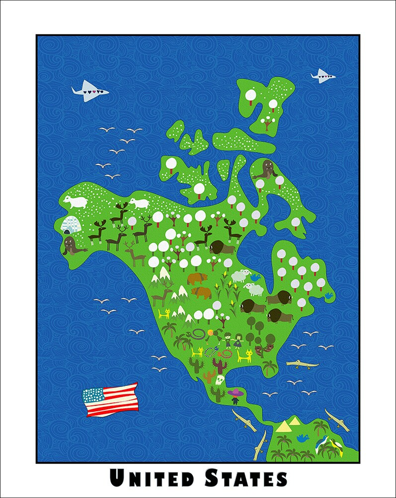 Children Usa Map Etsy - Us national parks wall map
