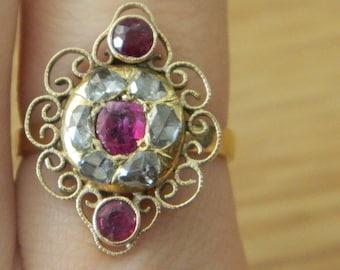 14K Rose Cut .5ct Diamond Ruby Antique Ring