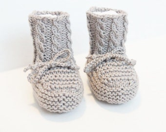 Baby Booties Hand Knit with Cables Silver Grey