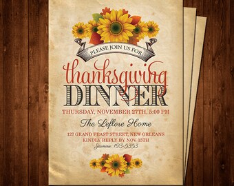 Thanksgiving Dinner Printable Invitation-Customizable