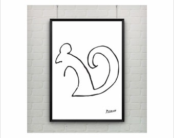 """Pablo Picasso """" Squirrel"""" Oneliner poster on paper or canvas / Abstract Animal / up to A0 size / Minimalist Art / Wall Art / Kids Room Decor"""