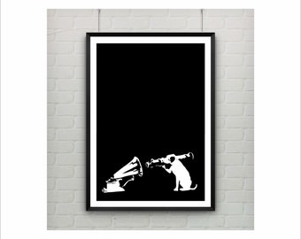 Dog With Bazooka Banksy Print / Graffiti Art / US Letter-A4 up to A0 size / Street Art / Wall Art / Provocative Humor / Contemporary Decor