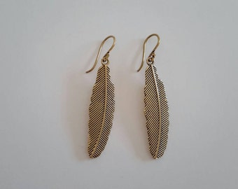 Beautifull Feather earings made from brass