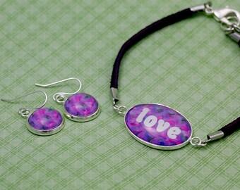 LOVE Bracelet with Matching Earring Set Option - Handmade Inspirational Jewelry