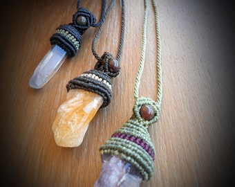Macrame necklace with quars/amethyst/citrine / Amulet necklace