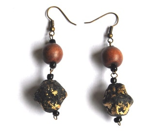 Vintage Wooden Earrings - Natural Wood Bead Earrings - Beaded Dangles - Earthy Jewelry