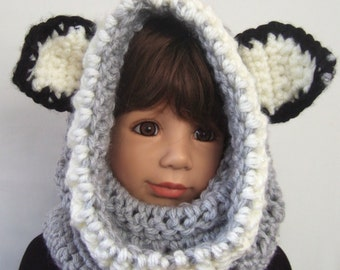 Childs Hooded cowl with Ears Wolf Hooded Cowl winter hat cowl warm hood