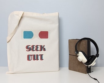 Tote, quote tote bag, tote bag, cotton tote, reusuable bag, geek tote bag, 3d glasses, illustration tote, cotton shopper, geeky tote bag