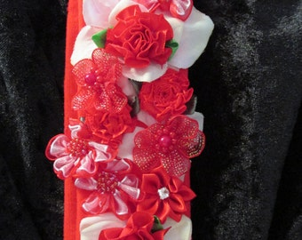 Valentine headband, red hair band, flower headband, girl's red jersey headband, red flowers, red hairband, ribbon flowers, head wrap Ruby62