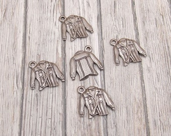 Set of 4 or 5 Pewter Charms - Denim Shirt - Button Up Shirt - Clothing - Top - Pockets