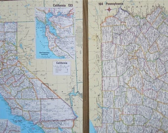 Vintage State Maps - Atlas Maps - Choose Your State - US State Map - Unframed Map Decor - 1970's Maps - Gallery Wall Map