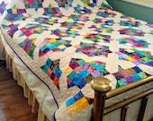 Twin Bed Quilt, Batik Fabric Quilt in Crossroads pattern, Full Size Bedding, Bright Couch Throw