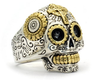 Mexican Sugar Skull Ring -  Mens skull ring jewelry Mexican Skull sterling cráneo sugar skull ring biker skull crane tête de mort