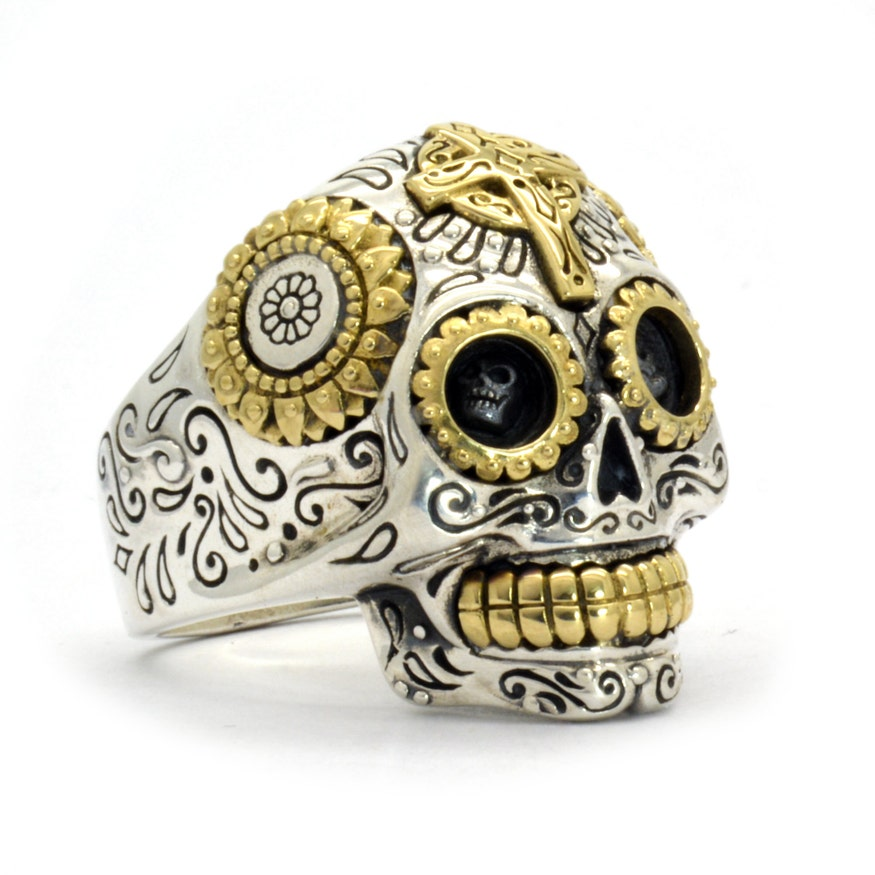 Mexican Sugar Skull Sterling Silver & Brass Ring