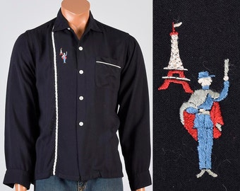Palm Springs 50s Shirt Mens 50s Shirt Novelty Shirt Eiffel Tower Paris Black Shirt Loop Collar Shirt Long Sleeve Shirt Rockabilly 15 15.5