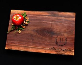 Personalized Cutting Board Live Edge Cutting Board Walnut Cutting Board w/Feet 11x17 Made In Canada Cutting Board Wedding Cutting Board