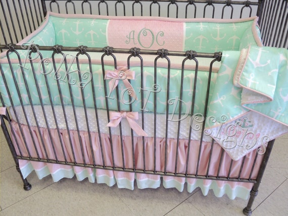 Nautical pink amp mint baby bedding alaina by polkatotbedding