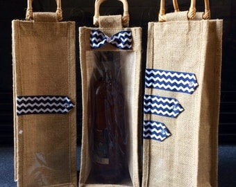 Wine Gift Bag- Burlap/jute bags with chevron pattern (set of 3) Make your wine gift extra special