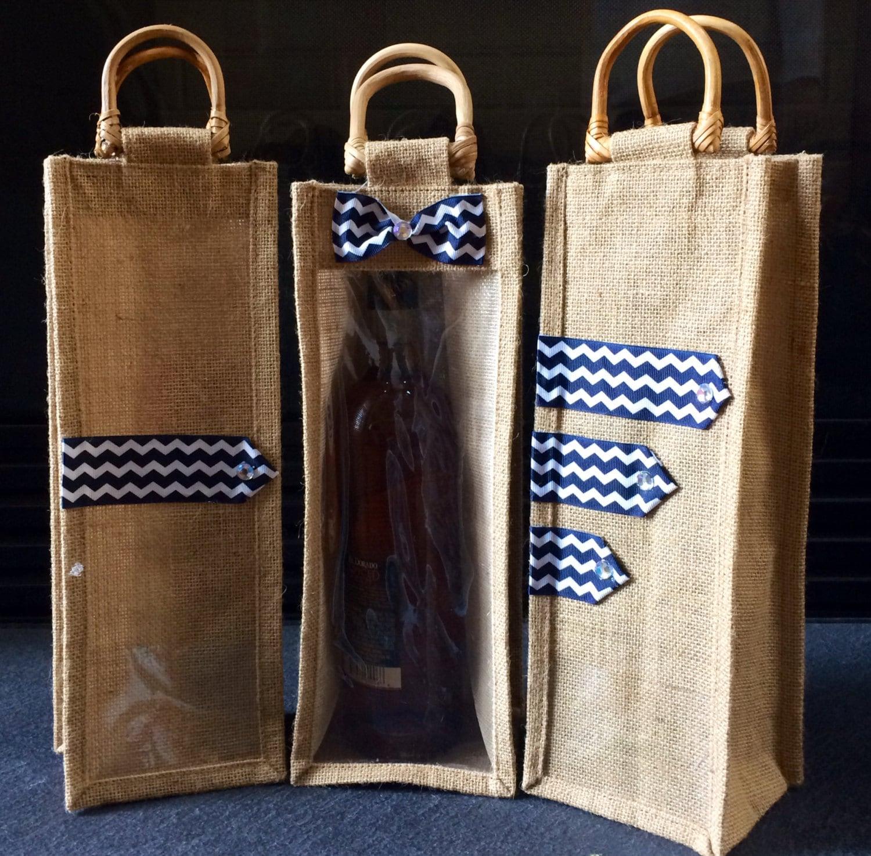 Wine gift bag burlap jute bags with chevron pattern set of