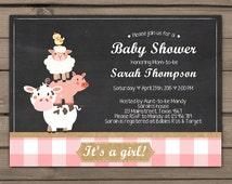 Farm Baby Shower invitation Pink Baby Shower invite Farm theme Farm Animals Chalkboard invitation Country baby shower Digital Printable