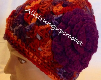 Purple/orange/burgandy Beanie/Hat/Cap with a Plum Purple Rose Flower for Adults/Teens