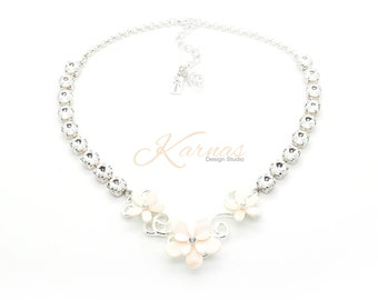 LOVE IN BLOOM 8mm Crystal Chaton Bridal Necklace Made With Swarovski Elements *Sterling Overlay *Karnas Design Studio *Free Shipping