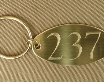 """Room 237  The Overlook Hotel Oval Brass, 2 sided  Key Tag , Key Chain, """"The Shining"""""""