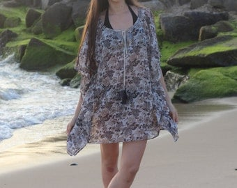 Women's swim cover up in printed georgette with sequins on neck