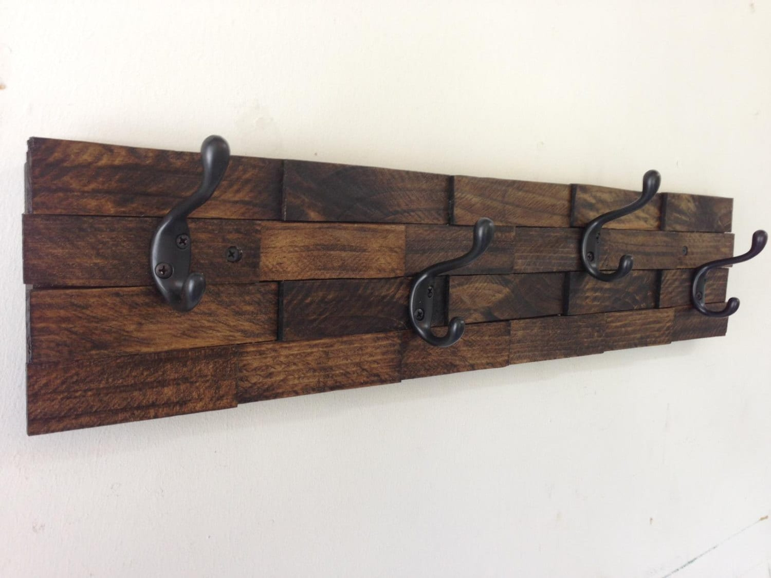 Rustic Wood Coat Rack Entryway Storage Wall By