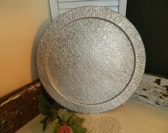 Vintage Silver Metal Embossed Round Serving Tray