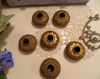 Set of 6 Antique Brass Threaded Chandelier Lamp Fittings